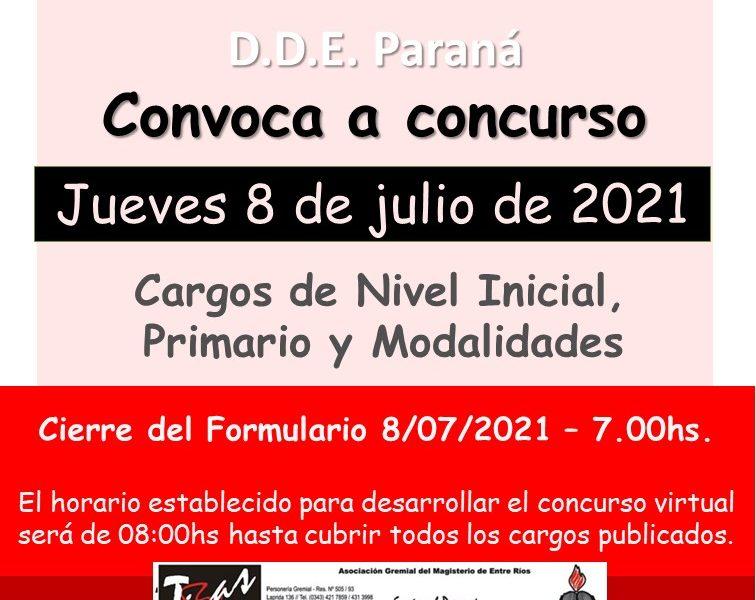D.D.E. Paraná – Convoca a concurso  el Jueves 8 de Julio de 2021 – Cargos de Nivel Inicial – Primario y Modalidades