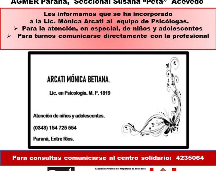 "Centro solidario. AGMER Paraná,  Seccional Susana ""Peta""  Acevedo."