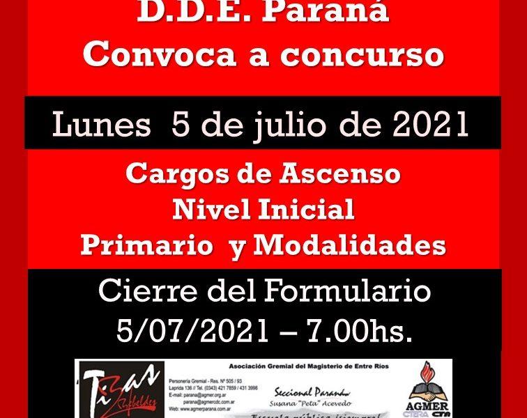 Dptal Paraná – Convocatoria Concurso Cargos de Ascenso – 5 de Julio 2021 – Nivel Inicial – Nivel Primario y Modalidades