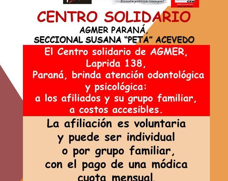 "Centro solidario. AGMER Paraná,  Seccional Susana ""Peta""  Acevedo"