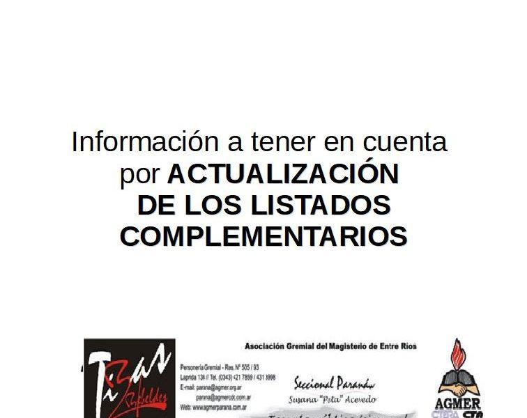 Información a tener en cuenta por ACTUALIZACIÓN DE LOS LISTADOS COMPLEMENTARIOS