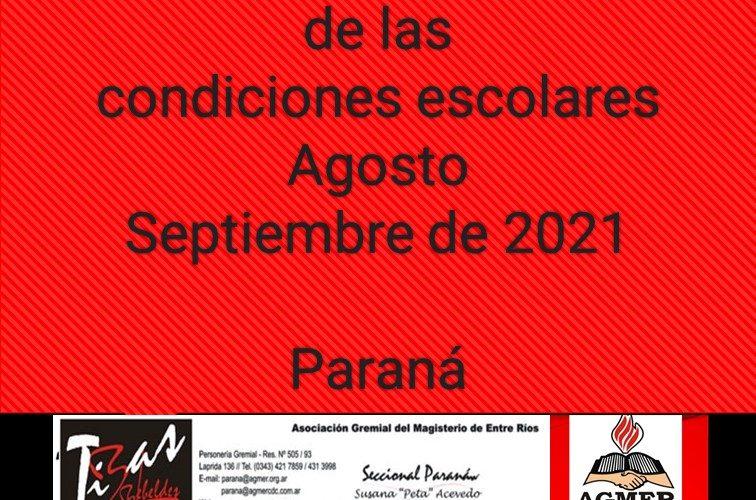 Relevamiento de las condiciones escolares – Agosto/Septiembre de 2021 Paraná