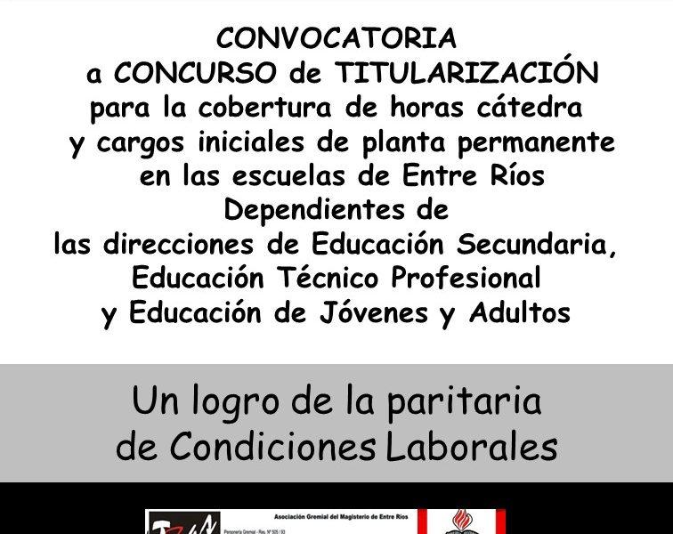 Concurso de Titularización para la cobertura de horas cátedra y cargos iniciales de planta permanente en las escuelas de Entre Ríos.