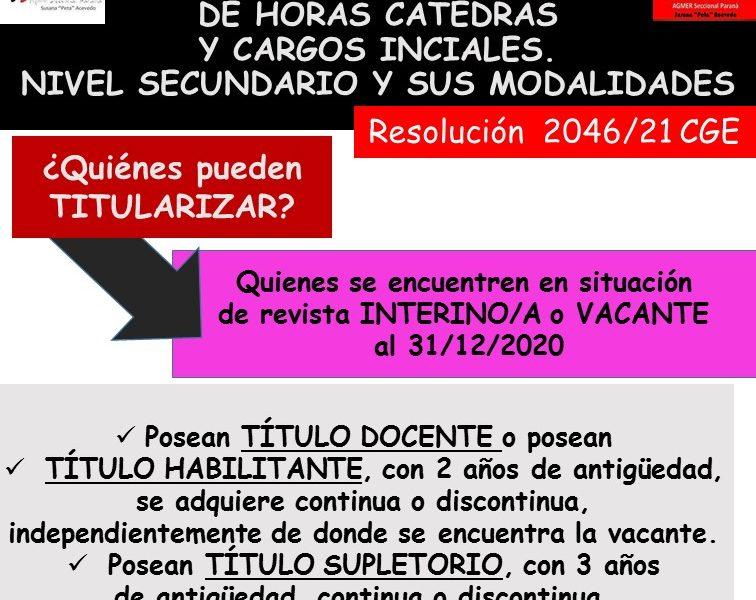 TITULARIZACIÓN DE HORAS CATEDRAS Y CARGOS INCIALES. NIVEL SECUNDARIO Y SUS MODALIDADES. Resolución 2046/21 CGE