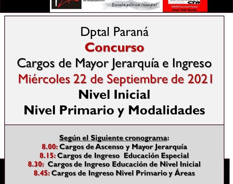Dptal Paraná – Convocatoria Concurso Cargos de Mayor Jerarquía e Ingreso – Miércoles 22 de Septiembre de 2021 – Nivel Inicial – Nivel Primario y Modalidades