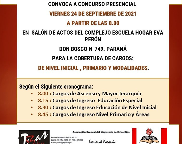 D.D. E. Paraná. Convocaa concurso presencial, el día 24 de septiembre de 2021. Cargos de Nivel Inicial, Primario y Modalidades.
