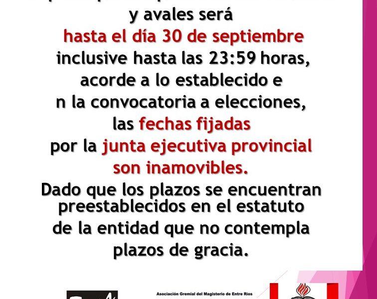 Junta Electoral Paraná AGMER. FORMULARIOS PARA COMPLETAR AVALES Y LISTAS.  LA NOTA DE DESIGNACIÓN Y ACEPTACIÓN DE APODERADOS DE LISTAS DEBEN ESTAR ANTES DEL 30/09/