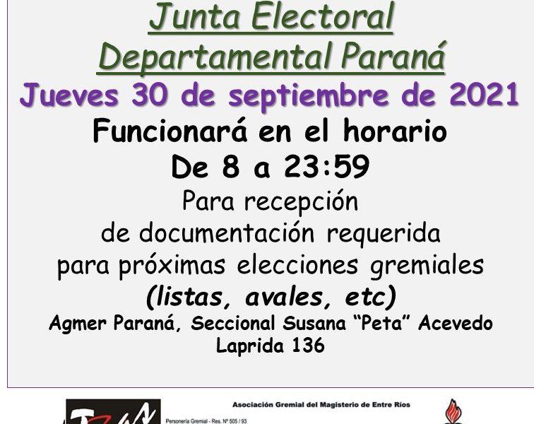Jueves 30 de septiembre de 2021. Junta electoral Paraná. Recepción de documentación para elecciones gremiales