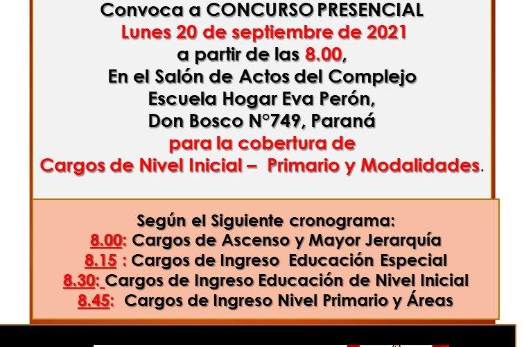Dptal Paraná – Convocatoria Concurso Cargos de Mayor Jerarquía e Ingreso – 20 de Septiembre de 2021 – Nivel Inicial – Nivel Primario y Modalidades