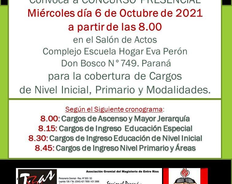 D. D. E. Paraná. Convoca a CONCURSO PRESENCIAL. Miércoles día 6 de Octubre de 2021, para la cobertura de Cargos de Nivel Inicial, Primario y Modalidades.