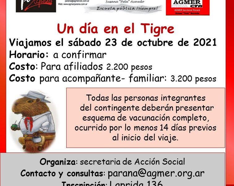 Un día en el Tigre. Viajamos el sábado 23 de octubre de 2021.